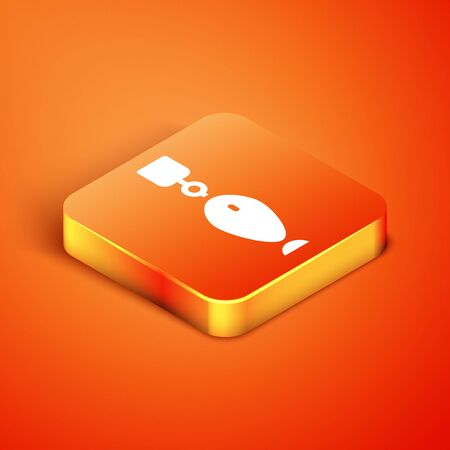 Isometric Fishing spoon icon isolated on orange background. Fishing baits in shape of fish. Fishing tackle. Vector.