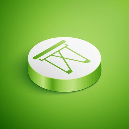 Isometric Camping portable folding chair icon isolated on green background. Rest and relax equipment. Fishing seat. White circle button. Vector.