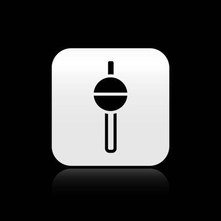 Black Fishing float icon isolated on black background. Fishing tackle. Silver square button. Vector