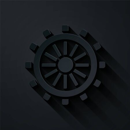 Paper cut Ship steering wheel icon isolated on black background. Paper art style. Vector