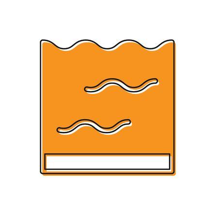 Orange Aquarium icon isolated on white background. Aquarium for home and pets. Vector. Vettoriali