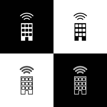 Set Smart home with wireless icon isolated on black and white background. Remote control. Internet of things concept with wireless connection. Vector