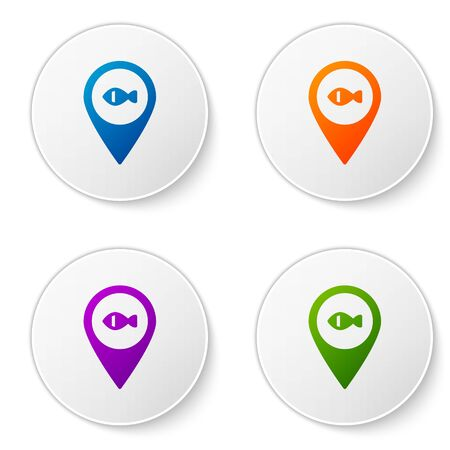 Color Location fishing icon isolated on white background. Fishing place. Set icons in circle buttons. Vector.