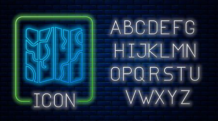 Glowing neon Folded map icon isolated on brick wall background. Neon light alphabet. Vector