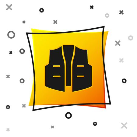 Black Fishing jacket icon isolated on white background. Fishing vest. Yellow square button. Vector