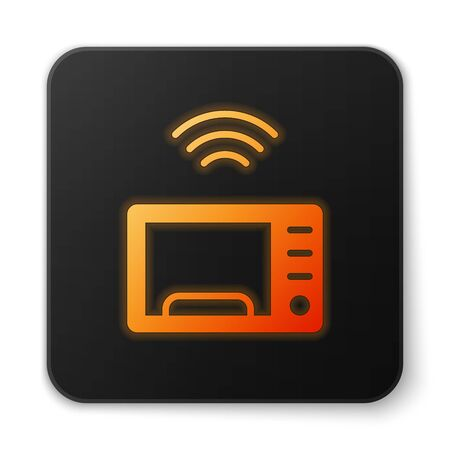 Orange glowing neon Smart microwave oven system icon isolated on white background. Home appliances icon. Internet of things concept with wireless connection. Black square button. Vector 向量圖像
