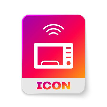 White Smart microwave oven system icon isolated on white background. Home appliances icon. Internet of things concept with wireless connection. Rectangle color button. Vector