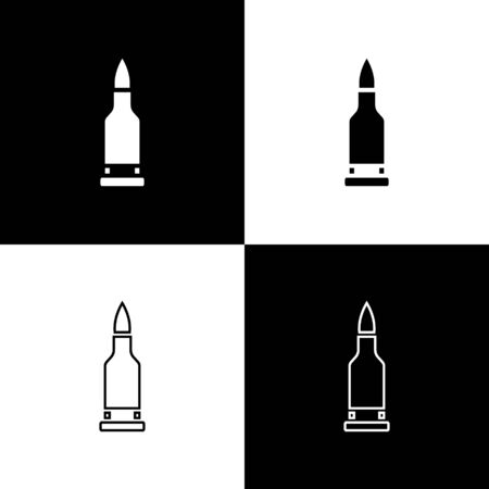 Set Bullet icon isolated on black and white background. Vector