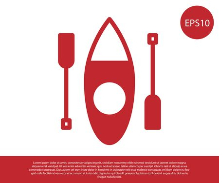 Red Kayak and paddle icon isolated on white background. Kayak and canoe for fishing and tourism. Outdoor activities. Vector
