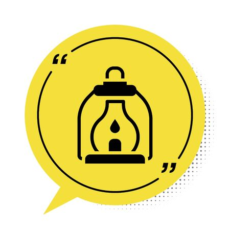 Black Camping lantern icon isolated on white background. Yellow speech bubble symbol. Vector 일러스트
