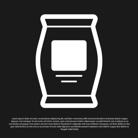 Black Fertilizer bag icon isolated on black background. Vector. Vettoriali
