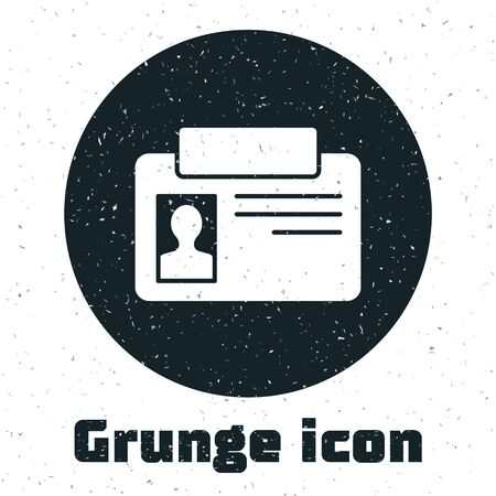 Grunge Identification badge icon isolated on white background. It can be used for presentation, identity of the company, advertising. Monochrome vintage drawing. Vector