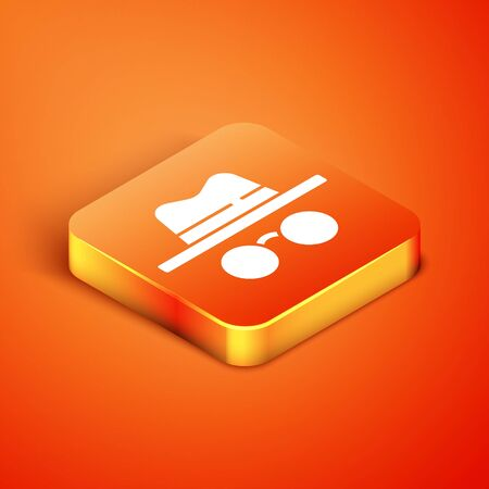 Isometric Incognito mode icon isolated on orange background. Vector