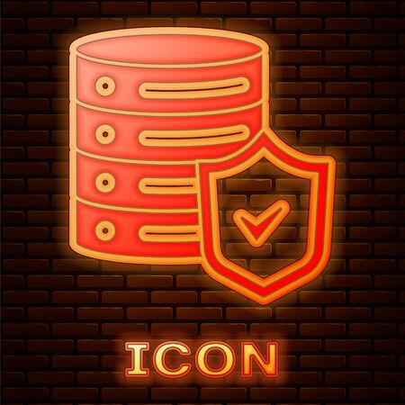 Glowing neon Server with shield icon isolated on brick wall background. Protection against attacks. Network firewall, router, switch, data. Vector