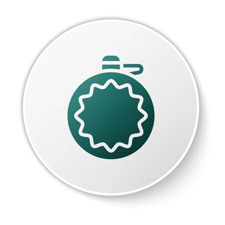 Green Canteen water bottle icon isolated on white background. Tourist flask icon. Jar of water use in the campaign. White circle button. Vector