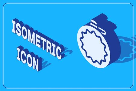 Isometric Canteen water bottle icon isolated on blue background. Tourist flask icon. Jar of water use in the campaign. Vector