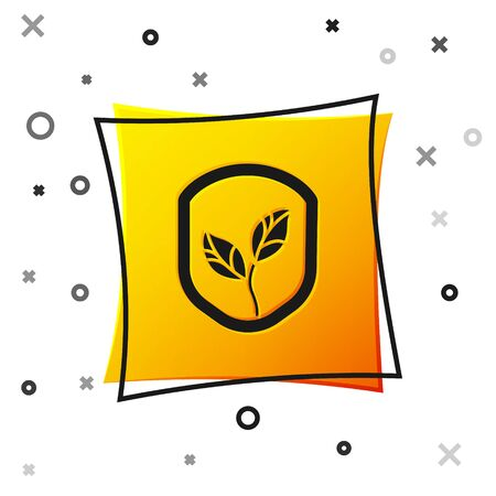 Black Shield with leaf icon isolated on white background. Eco-friendly security shield with leaf. Yellow square button. Vector