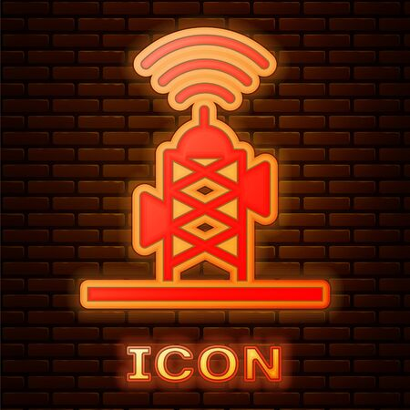 Glowing neon Wireless antenna icon isolated on brick wall background. Technology and network signal radio antenna. Vector