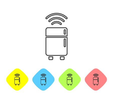 Grey line Smart refrigerator icon isolated on white background. Fridge freezer refrigerator. Internet of things concept with wireless connection. Set icons in color rhombus buttons. Vector
