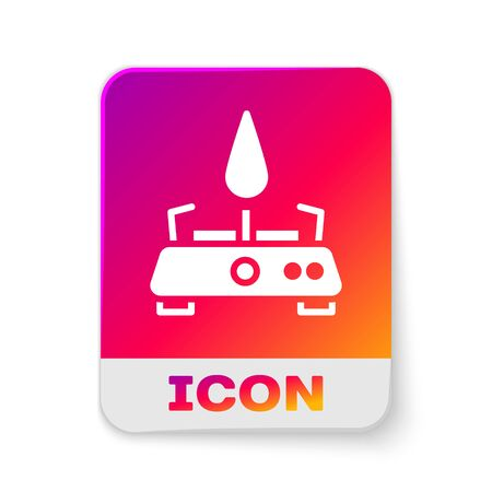 White Camping gas stove icon isolated on white background. Portable gas burner. Hiking, camping equipment. Rectangle color button. Vector