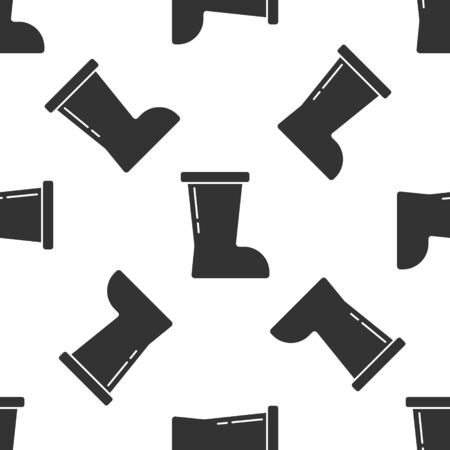Grey Waterproof rubber boot icon isolated seamless pattern on white background. Gumboots for rainy weather, fishing, gardening. Vector
