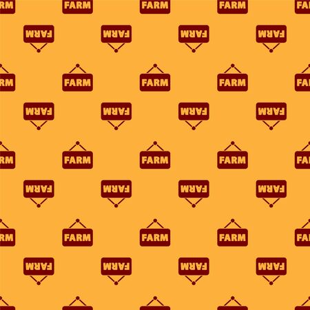 Red Signboard with text Farm icon isolated seamless pattern on brown background. Vector