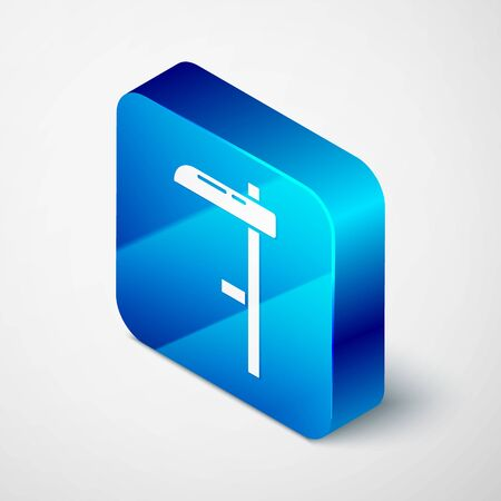 Isometric Scythe icon isolated on grey background. Blue square button. Vector