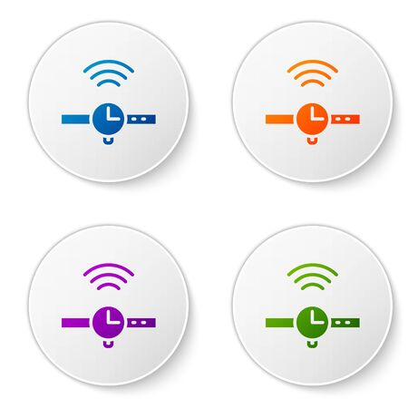 Color Smartwatch icon isolated on white background. Internet of things concept with wireless connection. Set icons in circle buttons. Vector Иллюстрация