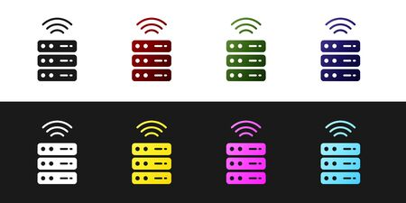 Set Smart Server, Data, Web Hosting icon isolated on black and white background. Internet of things concept with wireless connection. Vector