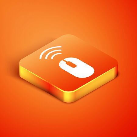 Isometric Wireless computer mouse system icon isolated on orange background. Internet of things concept with wireless connection. Vector