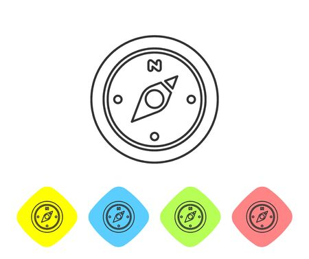 Grey line Compass icon isolated on white background. Windrose navigation symbol. Wind rose sign. Set icons in color rhombus buttons. Vector