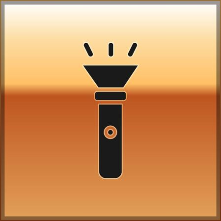 Black Flashlight icon isolated on gold background. Vector