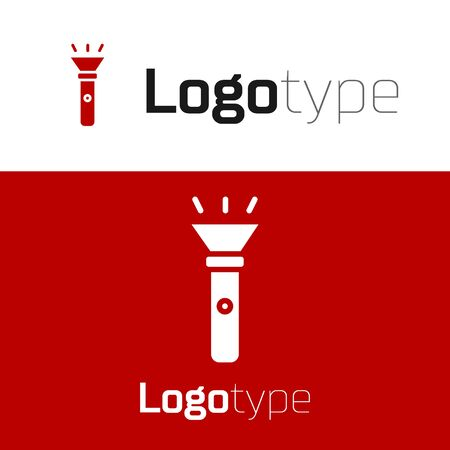 Red Flashlight icon isolated on white background. Logo design template element. Vector Vectores