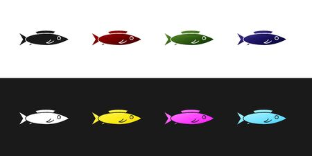 Set Fish icon isolated on black and white background. Vector. Vettoriali