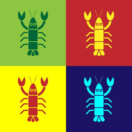 Pop art Lobster icon isolated on color background. Vector.