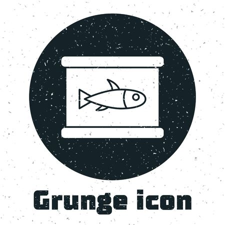 Grunge Canned fish icon isolated on white background. Monochrome vintage drawing. Vector.