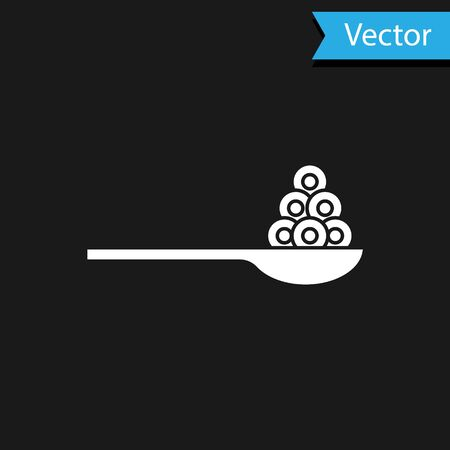 White Caviar on a spoon icon isolated on black background. Vector.