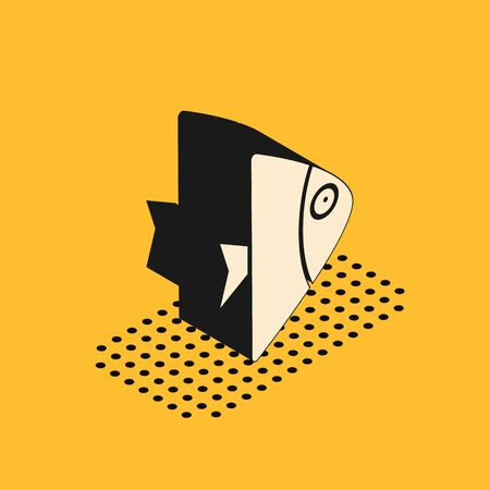 Isometric Fish icon isolated on yellow background. Vector.