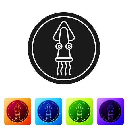 Black Octopus on a plate icon isolated on white background. Set icons in color square buttons. Vector.