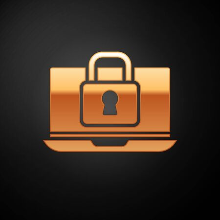 Gold Laptop and lock icon isolated on black background. Computer and padlock. Security, safety, protection concept. Safe internetwork. Vector