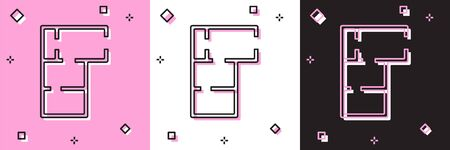 Set House plan icon isolated on pink and white, black background. Vector.