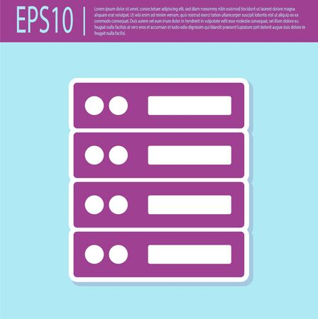 Retro purple Server, Data, Web Hosting icon isolated on turquoise background. Vector Иллюстрация