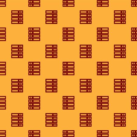 Red Server, Data, Web Hosting icon isolated seamless pattern on brown background. Vector