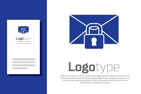 Blue Mail message lock password icon isolated on white background. Envelope with padlock. Private, security, secure, protection, privacy. Logo design template element. Vector