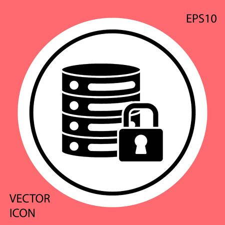 Black Server security with closed padlock icon isolated on red background. Security, safety, protection concept. White circle button. Vector.