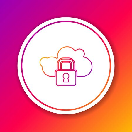 Color line Cloud computing lock icon isolated on color background. Security, safety, protection concept. Protection of personal data. Circle white button. Vector