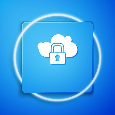 White Cloud computing lock icon isolated on blue background. Security, safety, protection concept. Protection of personal data. Blue square button. Vector
