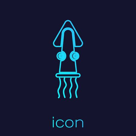 Turquoise line Octopus icon isolated on blue background. Vector.. Vettoriali