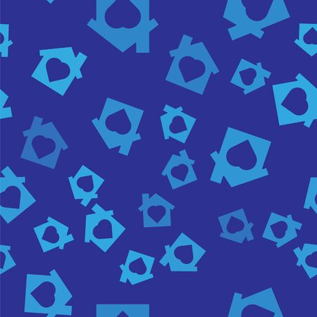 Blue House with heart inside icon isolated seamless pattern on blue background. Love home symbol. Family, real estate and realty. Vector.