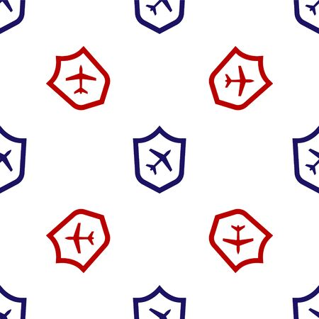 Blue and red Plane with shield icon isolated seamless pattern on white background. Flying airplane. Airliner insurance. Security, safety, protection, protect concept. Vector..